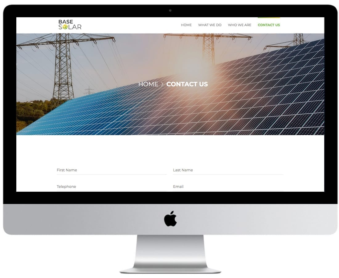 Base Solar Website Design Mockup 5