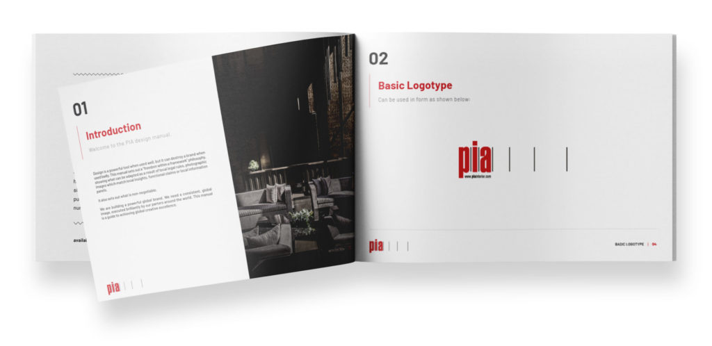 PIA Interior brand guideline for the brand identity and the logo design.