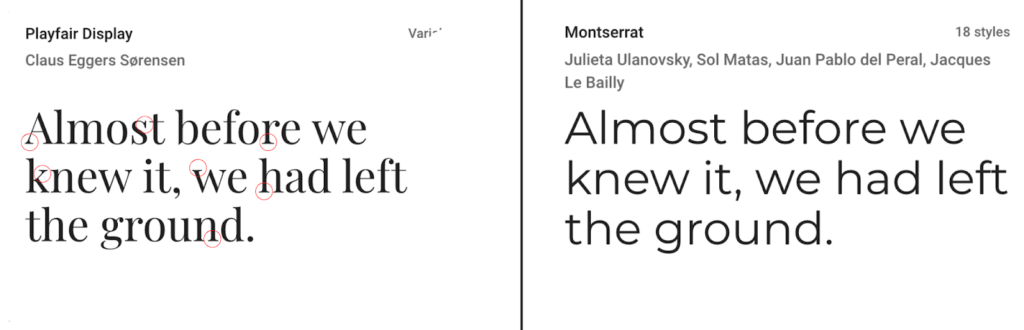 Serif and Sans Serif font from google font