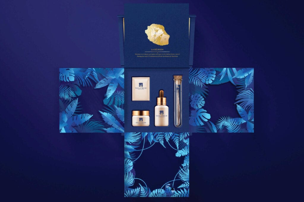 Vanilla Box Packaging Design for Escale Blue by Asia Media Design Agency in Bangkok Thailand