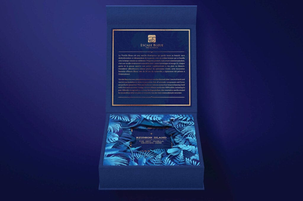 Vanilla Box Packaging Design for Escale Blue by Asia Media Design Agency in Bangkok